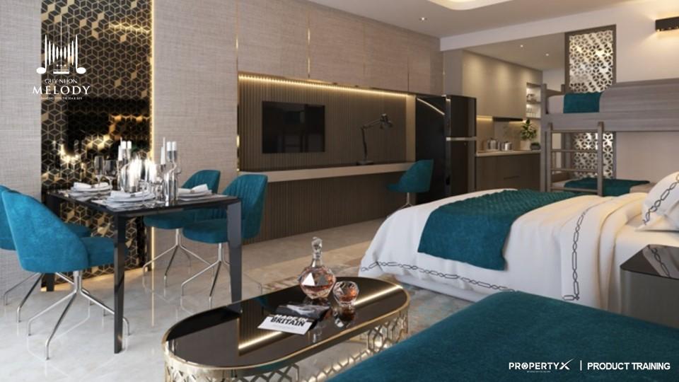Phòng khách căn hộ Quy Nhơn Melody