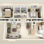 thiết kế căn hộ 60m2 2 phòng ngủ